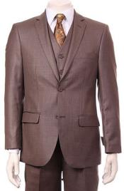 ID#RM1548 Regular Fit Two Two buttons Vested 3 ~ Three Piece Suit Pleated creased Pants Side Vents With Sheen Sharkskin mini pattern Taupe