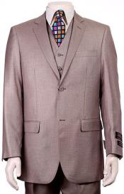 ID#RM1555 Regular Fit Two Two buttons Vested 3 ~ Three Piece Suit Pleated creased Pants Side Vents With Sheen Sharkskin mini pattern H.Taupe