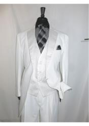 ID#SS-68 Two buttons  White & Off White Wedding 3 ~ Three Piece Suits For Groom For Sale Vested Jacket