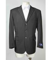 ID#SM612 Three Button Pinstripe Notch Collared Charcoal Masculine color Single Breasted Sportcoat Jacket Best Cheap Blazer For Men Affordable Sport Coats Sale