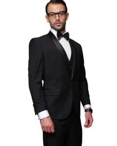 ID#RM1521 Dark blacked Collared Two Toned Suit Jacket + Pants & Vest Prom ~ Wedding Groomsmen Tuxedo