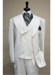 ID#SS-86 Vested 6 button Wedding 3 ~ Three Piece Suits For Groom For Sale Jacket Satin Striped with Wide Peak Lapel White