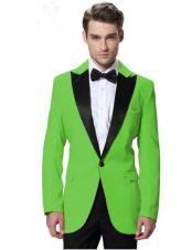 ID#DB23211 Cheap Tuxedos Black Lapel Tuxedos Apple Green Jacket with Black Pant One Button Elegant Slim Fit Weddin
