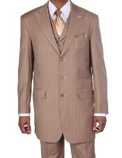 ID#K9462 New Peak Collared Pinstripe 3 ~ Three Piece Stripe Suits for Men Vested In Tan ~ Beige Pleated creased Pants