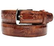 ID#RM1164 Authentic Belvedere Amico Genuine Ostrich Leg Brandy/Antique Coco Chocolate brown Belt