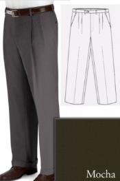 ID#PN-R66 Big and Tall Dress Pleated Pants Slacks For Mocha