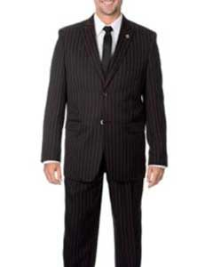 ID#QY24L Dark color Black Wedding / Prom with red pastel color Stripe ~ Pinstripe 3 ~ Three Piece Vested Suit