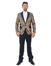 Shiny Sequin Glitter 2 Button Black Gold Checked Pattern Suit