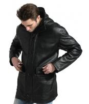 Black Pebble-grain Car Coat