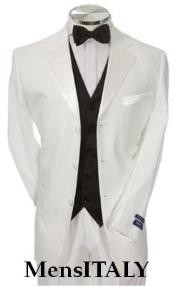 Light Weight All White Prom - Wedding Groomsmen Tuxedo 1 or 2 or Three buttons Tuxedo Suit Dark color black Vest + Tuxedo Shirt & Bow Tie Package Combo ~ Combination