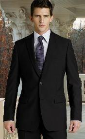 ID# WVL753 Retail $795 UMO Collezion Basic All Solid Outfit Plain Dark color Black Funeral SuitWedding / Prom Wool fabric Two buttons No Pleated creased Suits for Men