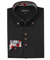 Men's 40% POLY Cheap Fashion Clearance Groomsmen Shirts Sale Online For Men 60% Cotton Solid Black Color Double Collar