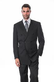 ID#KA1288 Dark color black DOUBLE BREASTED SUIT WITH Stripe ~ Pinstripe shadow tone on tone pattern Man Made Fiber-rayon fabric