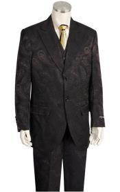 ID#MK532 Canto black men fashion Wide Leg Dark color black Dark Olive Paisley Fashion Suit