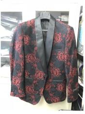 ID#DB23480 Black  1 Button Shawl Lapel Floral ~ Affordable Cheap Priced Unique Fancy For Men Available Big Sizes on sale Flower Pattern Tuxedo Best Cheap Blazer For Men Affordable Sport Coats Sale