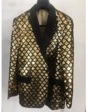 ID#DB24774 Black ~ Gold Black And gold Blazer 2 Button  Shine  Best Cheap Blazer For Men Affordable Sport Coats Sale