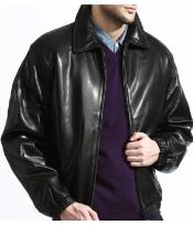 Classic Dark color black Lambskin Leather skin A Classic Body Made From Top Grain - Big and Tall Bomber Jacket