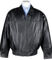 Western Leather skin - Big and Tall Bomber Jacket Dark color black