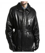 Lambsking Leather Dress Coat