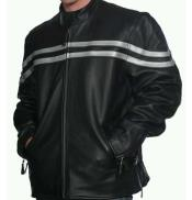 ID#NM1105 Men's Black Leather Snap Collar Front Zipper Classic Closure Jacket