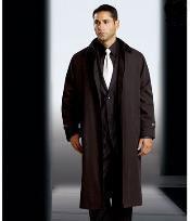 ID#KA1189 Man Made Fiberester/Nylon Long length Rain Coat - Dress Coat Cheap Priced Available In Big & Tall Sizes  Trench Coat(Snap Off Liner)