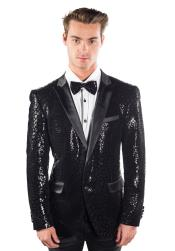 ID#DB20521 Black Sequin Glitter Reptilian Print Best Cheap Blazer For Affordable Cheap Priced Unique Fancy For Men Available Big Sizes on sale Men Affordable Sport Coats Sale