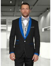 1 Button Black/Royal Blue Shawl Lapel Modern Fit Vested Evening Tuxedos