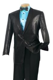 ID#65VS Satin Shiny Luxurious Wool fabric Feel Sport Coat – Sequin Glitter Dark color black