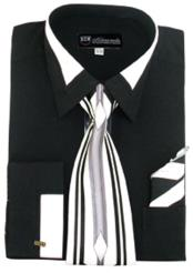 ID#NM816 Black French cuff Contrast Collar Dress Cheap Fashion Clearance Shirt Sale Online For Men Matching Tie and Hanky Set