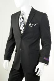 ID# AC-933 Dark Black Wedding / Prom Inexpensive ~ Cheap ~ Discounted Clearance Sale Center Vent  Extra Slim Fit Prom Suit