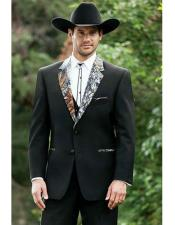 ID#VI22998 Black Prom ~ Wedding Groomsmen Tuxedo Camouflage Suit Camo Tux Pattern on Notch Lapel with Trimmed Pockets