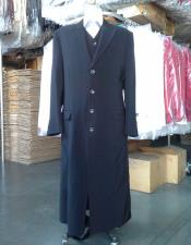 ID#DB19766 Black Maxi full-length Vested zoot 3 ~ Three Piece suit