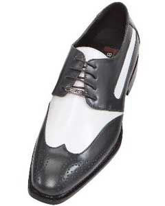 ID#MMA42 Dark Charcoal Masculine color Gray-Silver Two Tone Dress Prom Shoe Oxford: Wingtip ~ Spectator Shoes