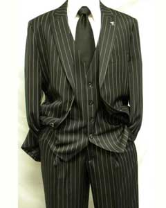 ID#MK431 Dark color Black and White Wedding / Prom and White Gangster pronounce visible Pinstripe Striped Mars Vested 3 ~ Three Piece Fashion Suit Pleated creased Pant