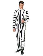 Mens Black White Stripe Suit