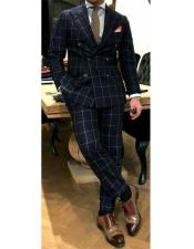 ID#DB20964 Black and White Window Pane ~ Plaid Double Breasted Wool Suits