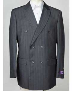 ID#SM608 Peak Collared Pinstripe Blue 6 Button Double Breasted Sportcoat Jacket Best Cheap Blazer Suit Jacket For Affordable Cheap Priced Unique Fancy For Men Available Big Sizes on sale Men Affordable Sport Coats Sale
