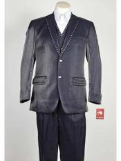 ID#SM1030 3 Piece Blue Notch Collared Sharkskin Rhinestone Entertainer Suit