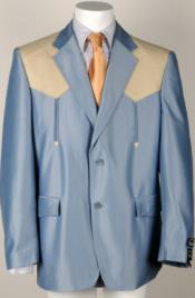 ID#NM260 Western Tuxedo traje vaquero Man Made Fiber Combo (Blue/Bone Ostrich)
