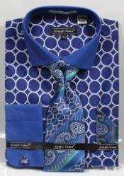 Avanti Uomo Printed Pattern French Cuff Dress Cheap Fashion Clearance Shirt Sale Online For Men Blue