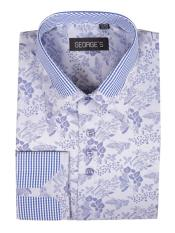 ID#DB17150 Blue Floral ~ Flower Pattern Cotton Blend Classic Fit Standard Cuff Cheap Fashion Clearance Shirt Sale Online For Men