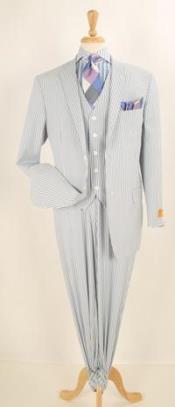 ID#JR58W 3 ~ Three Piece Blue Summer Pattern Seersucker suit - Pleated creased Pants