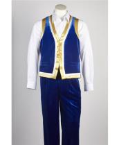 ID#NM694 Mens Blue Velvet Matching Vest & Pants Set