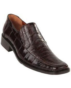 ID#SD13X Exotic Coco Chocolate brown Caiman skin Belly Split Toe Prom Loafer slip on shoe Cheap Priced Exotic Skin Shoes For Sale For Men