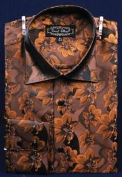 ID#AC-456 Fancy Man Made Fiber Dress Cheap Fashion Clearance Shirt Sale Online For Men With Button Cuff Coco Chocolate brown
