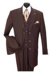 ID#SS-145 Vested 3 ~ Three Piece pronounce visible Chalk Gangster Pinstripe ~ Stripe Peak Collared Coco Chocolate brown