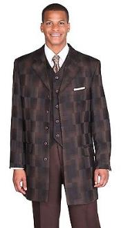 "ID#KA8475 Fancy Man Made Fiber 35"" jacket with Vest Checker by Milano Moda design Coco Chocolate brown"