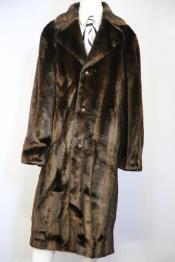 ID#DB23759 Faux Bear Pelt Button Brown Notched Lapel Long Zoot Suit