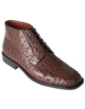 Brown Ostrich Ankle Comfortable