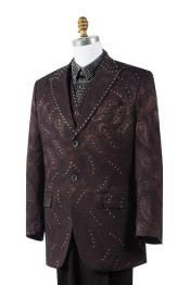ID#AA462 Coco Chocolate brown Paisley 3 Piece Best Inexpensive ~ Cheap ~ Discounted Blazer For Affordable Cheap Priced Unique Fancy For Men Available Big Sizes on sale Men Affordable Sport Coats Sale
